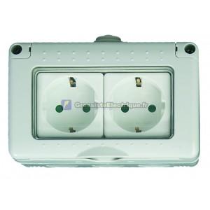 Double base imperméable à l'eau IP55 série encastré, 16A. 250V.