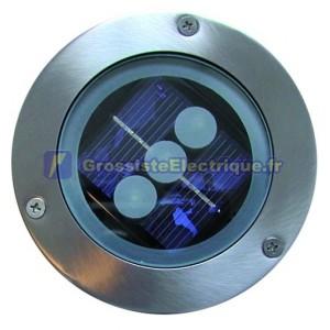 Solar Light bazilamiento sol ou au mur avec 2 LED blanches, en acier inoxydable. + Alun. Nickel satiné.