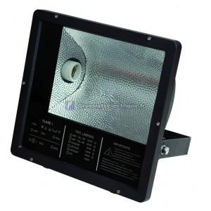 Projecteur halogène avec intégrée et E40-230V.-IP65, Noir. 400W.