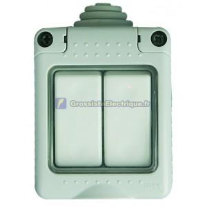 Série double interrupteur étanche IP55, usage extérieur, 16A, 250V-50Hz.