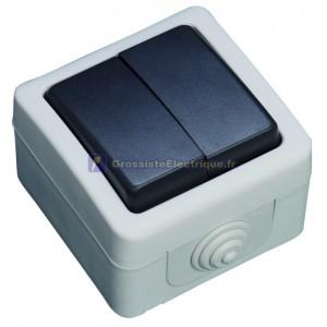 Double Switch series IP44 étanche à l'eau, une utilisation en extérieur, 10A, 250V. 50Hz