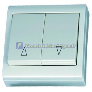 Double mise au point bouton LG80 surface blanche, 80x80mm. 10A, 250V, Polycarbonate.