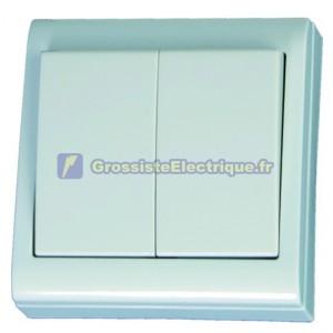 Double interrupteur de mise au point LG80 surface blanche, 80x80mm. 10A, 250V, Polycarbonate.