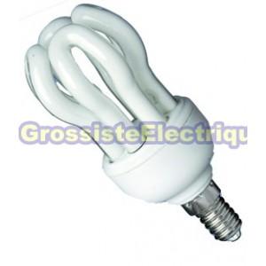Encadré 10 ampoules basse énergie mini-lotus 4 U (4 tubes) E14 9W 100mmx44mm chaud