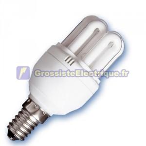 Encadré 10 ampoules basse énergie mini-6 U 15W E14 2700K chaud