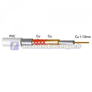 Rouleau de 100 m de câble coaxial en cuivre pour antenne 1.13Cu