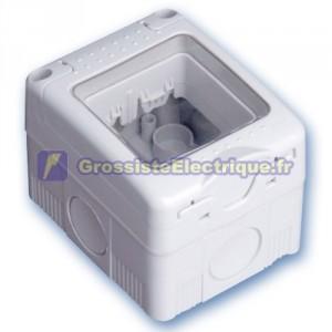 Superfcie boîte avec couvercle étanche pour 2 modules / IP55 Hollow.
