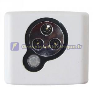 Push-Light 3 LED détecteur de mouvement, piles Fonctionne avec 3 R3 (AAA) - En Blister.