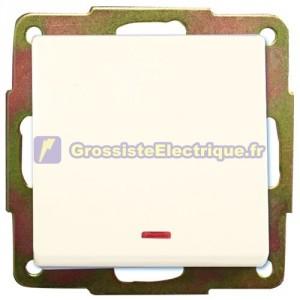 Blanc interrupteur à encastrer avec LED 56x56mm.10A, 250V.