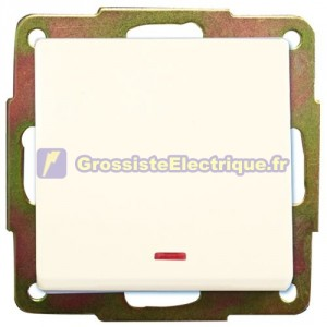 Traversez interrupteur à encastrer avec LED blanche 56x56mm.10A, 250V.