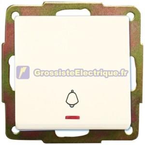 Cloche bouton encastré lumière blanche 56x56mm.10A, 250V.