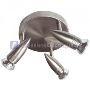 Paflón plafonniers halogènes 3x50W GU10 3,-nickel satiné, directement à 220V 50Hz, 190x110mm.