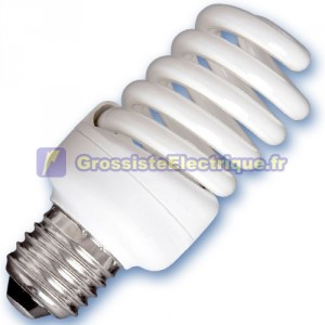 Encadré 10 ampoules spirale de 25W à basse énergie E27 6400K froid