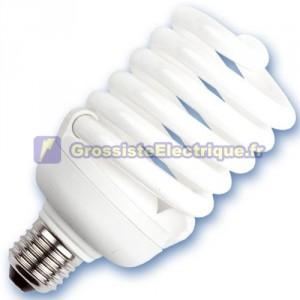 Encadré 10 ampoules spirale de 25W à basse énergie E27 2700K chaud