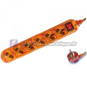 Base de Multiple Transparent Orange 6 coups / Int. (6T) avec 1,5 mètres de câble série transparent.
