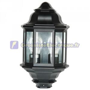 Lanterne de jardin en aluminium à 3 côtés, avec deux E27, 60W. 230. IP44. Usage externe. Black ..
