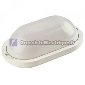 Appliquer plastique lisse ovale Blanco.230V 60W E27. IP44.