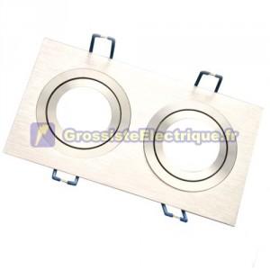 Montage double anneau rectangulaire lisse. Aluminium, 92x174mm.