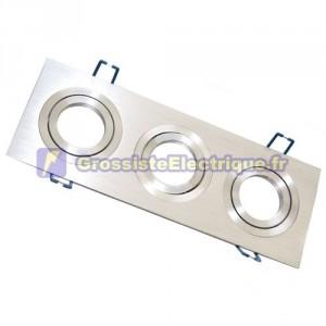 Montage triple couronne rectangulaire lisse. Aluminium, 92x256mm.