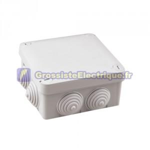 Boîte de jonction 105x105x40mm IP54 imperméable à l'eau de surface gris.