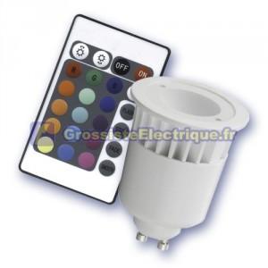 Ampoule dichroïque GU10 / RGB 5W 1 LED multicolores en céramique-plastique