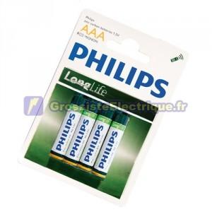 Boîte de 12 blisters de 4 unités de R-03 piles salines (AAA) PHILIPS