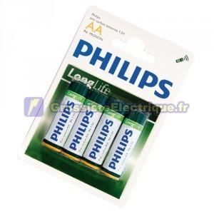 Boîte de 12 blisters de 4 unités de piles salines R-6 (AA) PHILIPS
