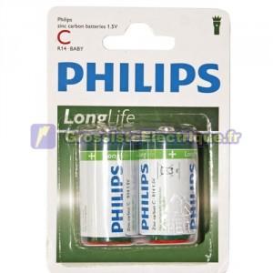 Encadré 12 2 unités de piles salines R-14 (C) PHILIPS