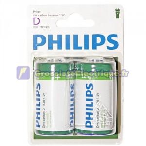 Encadré 12 2 unités de piles salines R-20 (D) PHILIPS