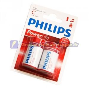 Encadré 12 2 unités de piles alcalines LR-14 (C) PHILIPS
