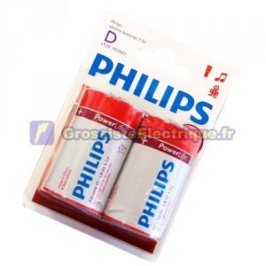 Encadré 12 2 unités de piles alcalines LR-20 (D) PHILIPS