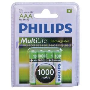 Boîte de 12 blisters de 4 unités de R-03 batteries rechargeables (AAA) PHILIPS Ni-MH 900mAh