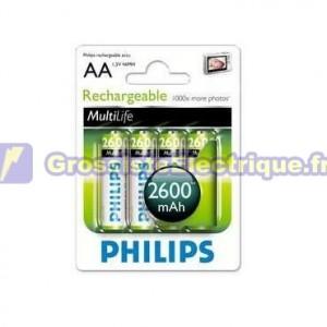 Boîte de 12 blisters de 4 unités rechargeables R-06 (AA) Ni-MH 2450mAh PHILIPS