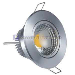 COB LED Downlight Tilt Aro 5W 450 nickel satiné Lm chaud