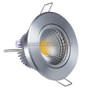 COB LED Downlight Tilt Aro 450 lm 5W froide nickel satiné