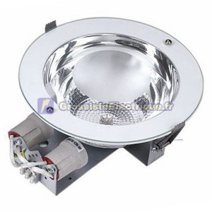 Downlight encastré rond 2x25W E27 Nickel satiné Ø235