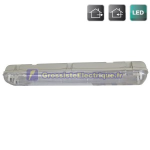Etanche T8 affichage LED 2 x 60 cm (équivalent à 2x18W)
