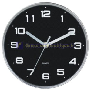 Ø25 Horloge Cuisine Noir