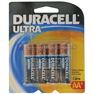 Encadré 4 pcs 10 ampoules. LR06 Pile alcaline Duracell Ultra AA