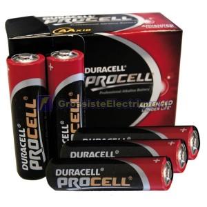 Encadré 10 unités LR06 Piles Alcalines Duracell Procell AA