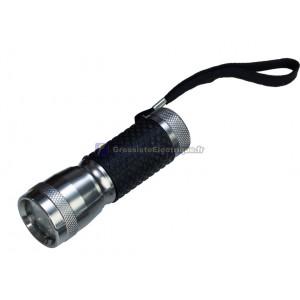 Lampe de poche en aluminium 13 LED avec poignée en caoutchouc.