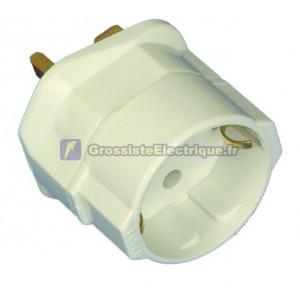 Anglais pour adaptateur prise européenne Ø 4,8 mm comprend fusible 13A sol