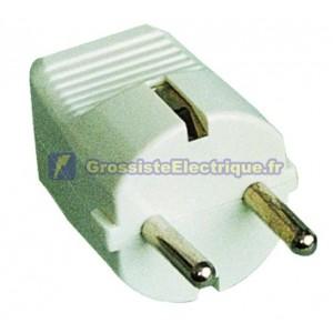 Fiche bipolaire avec sortie de câble droite Ø 4,8 mm. Matériau thermoplastique