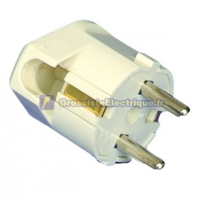Avec fiche bipolaire avec TT et entrée de câble latérale Ø 4,8 mm. Matériau thermoplastique