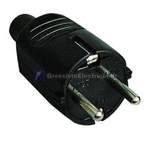 Fiche bipolaire avec du noir latérales en caoutchouc TT et sortie de câble droite Ø 4,8 mm