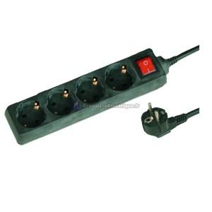 Plusieurs base noire 4 prises (4T) avec cordon d'alimentation standard de série