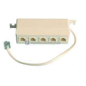Distributeur de téléphone modulaire, 6p/4c, 5 mâle à la femelle, 20 cm. Câble.