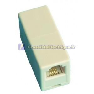 Adaptateur / Extension téléphonique modulaire 6p/4c, femelle à femelle.
