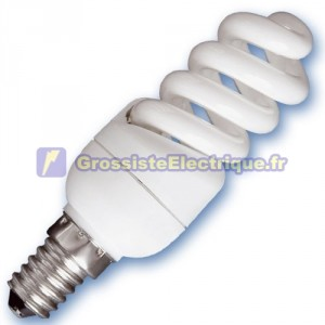 Encadré 10 ampoules basse consommation 9W E14 2700K microbobine chaud