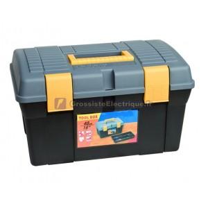 Boîte à outils. 390x250x225mm. Double fond.